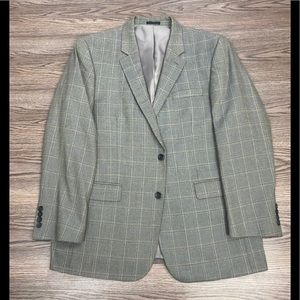 Andrew Fezza Grey w/ Gold & Black Plaid Blazer 44R